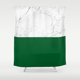Green Shower Curtains Society6 White Marble Bathrooms White