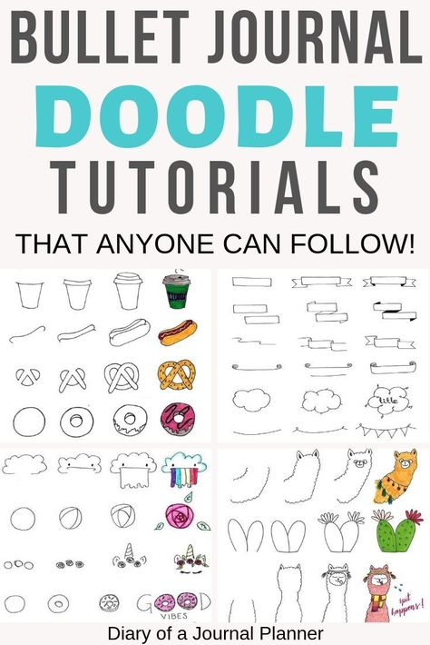 This is a massive list of bullet journal doodle tutorials to give you ideas and inspiration for your bujo doodles and drawings. #bujo #bulletjournal #bulletjournalinspiration #bulletjournalideas #doodle #doodles #drawings #illustration