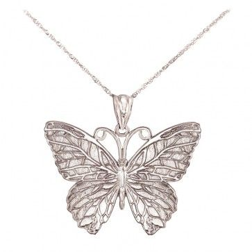 Multi Tone Necklace Charm 14K Solid Yellow White Rose Gold Butterfly Pendant