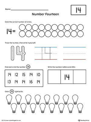 Number 14 Worksheet For Kindergarten In 2020 Worksheets For Kids Preschool Worksheets Preschool Number Worksheets
