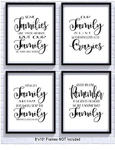 Dysfunctional Family Funny Art Prints 4 Pack Set 8x10 Photos Unframed Wall Decor Printables Kitchen Wall Art Kitchen Pictures