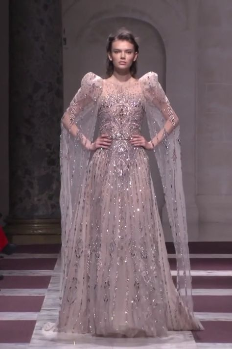 Stunning Embroidered Champagne A-Lane Evening Maxi Dress / Evening Gown with Long Sleeves and a Train. Spring Summer 2019 Haute Couture Collection. Fashion Runway by Ziad Nakad