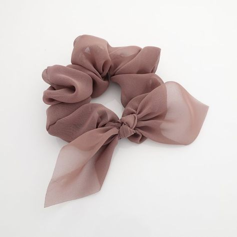 translucent chiffon bow knot scrunchies pretty women scrunchie hair accessory #chiffonscrunchies #bowknotscrunchies #veryshine #scrunchies