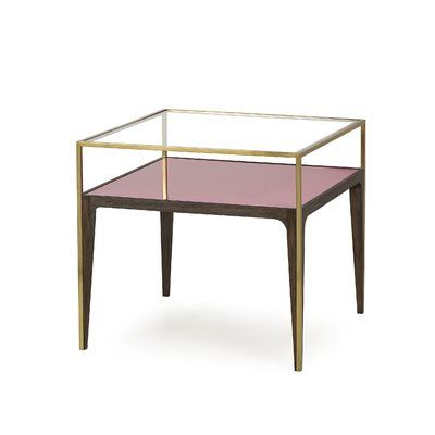 Sonder Living Tracey Boyd Rubylite End Table Glass Top Side Table Glass Side Tables Modern Side Table