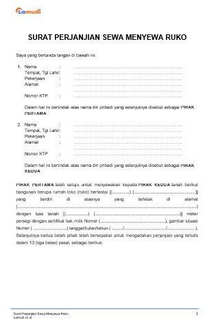 Contoh Surat Perjanjian Sewa Ruko Kios Pdf Doc Lamudi Surat Ruko Penjualan