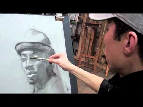 Art League instructor Jin Chung demonstrates with vine charcoal and white chalk for his Portrait Drawing class. (Part 2)