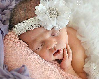 Dentelle Serre-tête Bébé Blanc Cheveux Bande fleur fait main Baptême Baptême Diadème