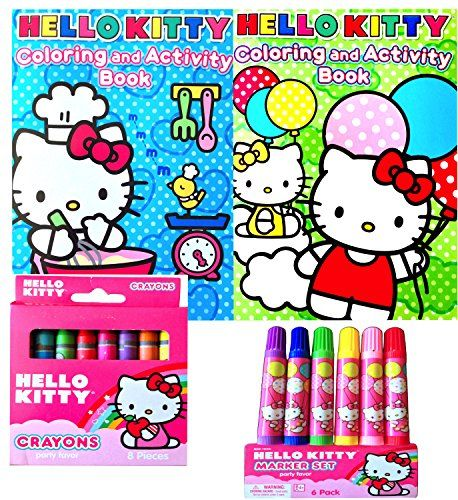 Hello Kitty Coloring And Activity Books Arts And Crafts With Small Cute Marker Set And Crayon Set Click Image To Re Hello Kitty Coloring Crayon Set Book Art