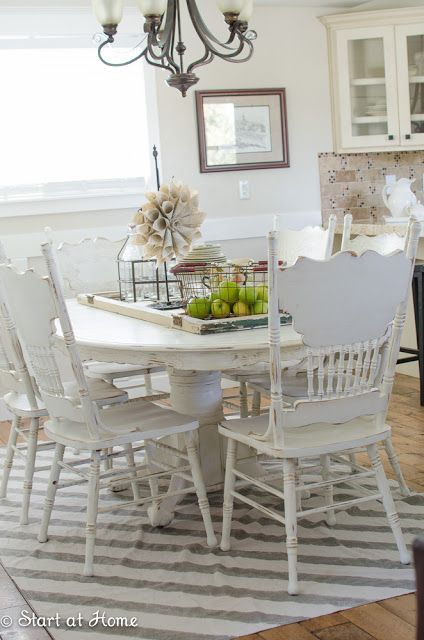 Upcycle on pinterest dining chairs redo lamp shades and for Painting ideas for kitchen and dining room