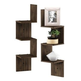 Porch Den Munjoy Brown 3 Tier Wall Mount Floating Corner Shelf Set Of 2 French Oak Grey Gray Floating Wall Shelves Floating Corner Shelves Wall Shelves
