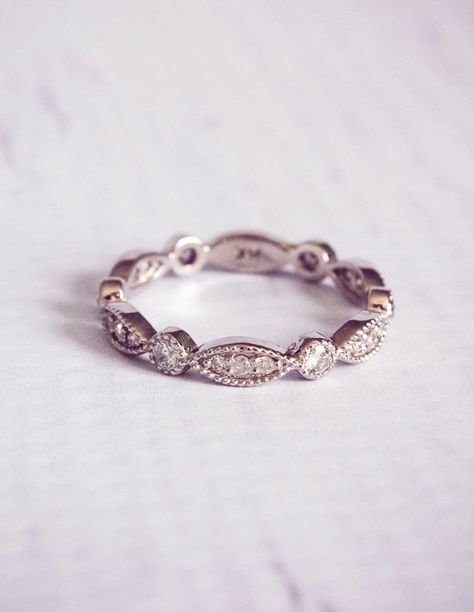 Stunning 1930s style, reproduction antique diamond pave wedding ring. With 0.4 carats of diamonds in a pave setting, the design to wraps around