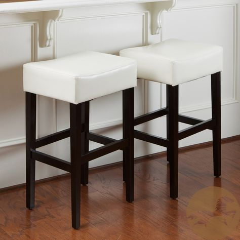 Lopez 30 Inch Ivory Bonded Leather Backless Bar Stools Set Of 2 By Christopher Knight Home Backless Bar Stools Bar Stools Leather Bar Stools