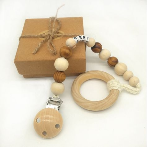 Baby Wooden Beaded Pacifier Clip Chain Holder Nipple Teether Dummy Strap Ring