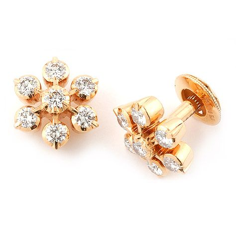 The Traditional South Indian 7 Stone Diamondstud Is Redefined In This Clic Pair Of Handcrafted 18kgoldearrings Gold Earings Pinterest 18k