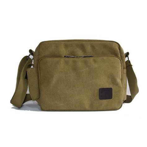 Canvas Small Messenger Casual Shoulder Travel Organizer Bag Multi Pocket Coffee