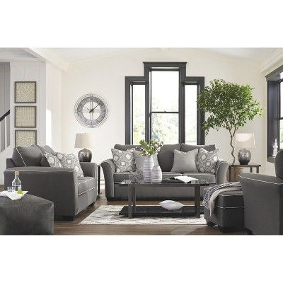 Domani Chair Charcoal Heather Gray Signature Design By Ashley Charcoal Living Rooms Living Room Sets Living Room Grey