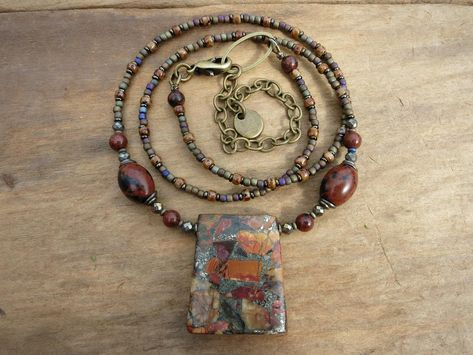 17mm x 8mm 20 Handmade Drops with Desert Agate Beads on Brass Wire