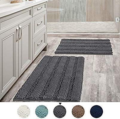 Amazon Com Grey Bath Mat Ultra Thick And Soft Texture Chenille Plush Striped Floor Mats Hand Tufted Bath Ru Blue Bathroom Rugs Bathroom Rugs Washable Bath Mat