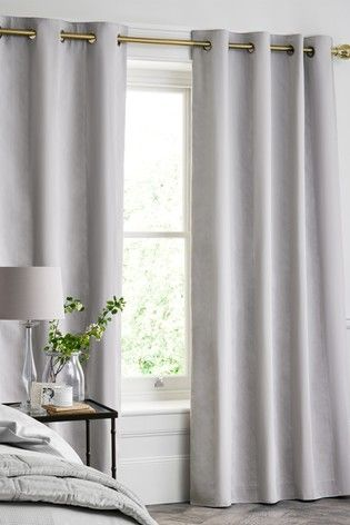 Grey Cotton Waffle 300 Thread Count Blackout Lined Eyelet Curtains In 2020 Grey Curtains Bedroom Curtains Living Room Curtains