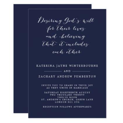 Minimalist Christian Navy And White Script Wedding Invitation