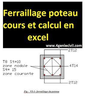 Ferraillage Poteau Cours Et Calcul En Excel Calcul Genie Civil Calcul Beton