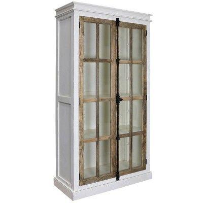 Tucker Curio Cabinet White Natural Stylecraft Curio Cabinet