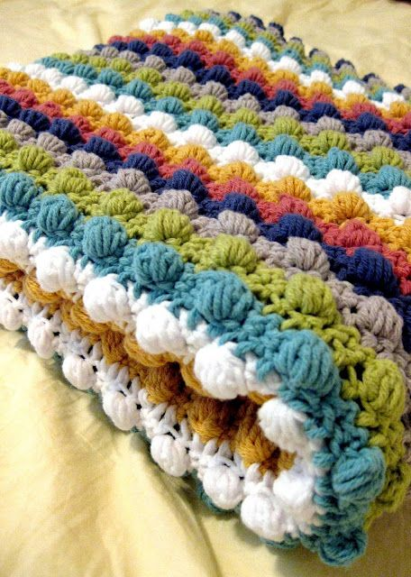 Bobble stitch blanket - I want to learn how to make this! Of course, I need to learn to crochet first...