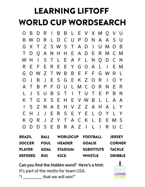 Printable World Cup Word Search Summer Learning World cup games