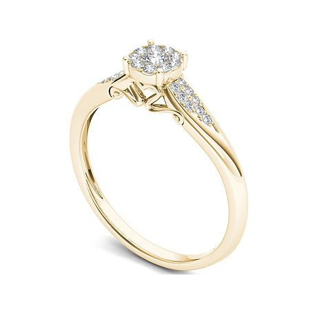 1 6 Ct T W Diamond 10k Yellow Gold Engagement Ring 6 No Color Family In 2020 Yellow Gold Engagement Yellow Gold Engagement Rings Engagement Rings
