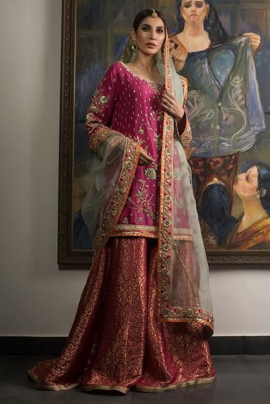 Pakistani Walima Bridal Dress in Pastel Pink Color with Heavy Dabka Nagh Zari & Silk Threads. Free Consultation For your Bridal & Groom Dresses.