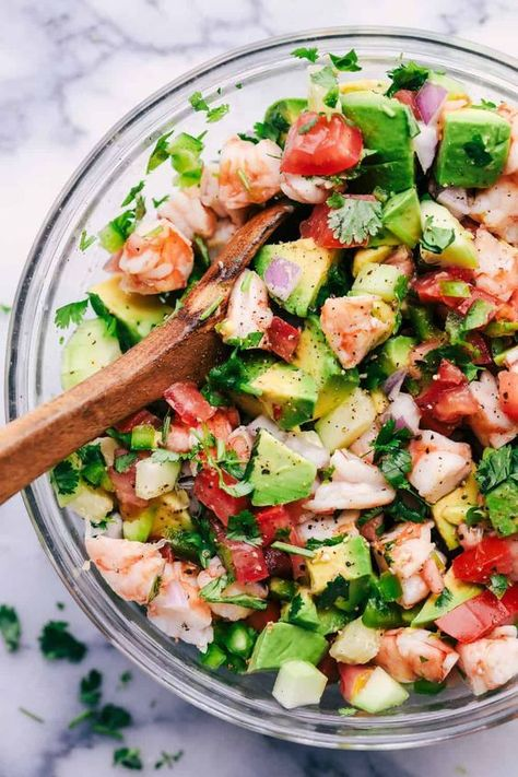 Avocado Shrimp Ceviche is made with so many fresh ingredients and so easy to make! This is always a hit where it goes! We also love these other recipes that have fresh avocado as an ingredient. Italian Avocado Cucumber Salad, Berry Avocado Salad with Cre Seafood Recipes, Mexican Food Recipes, Appetizer Recipes, Cooking Recipes, Healthy Recipes, Avocado Salad Recipes, Easy Shrimp Recipes, Spinach Salads, Shrimp Salad Recipes