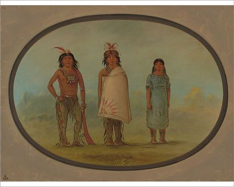Two Chippewyan Warriors and a Woman, 1855/1869. Creator: George Catlin. 10 inch Photo. Two Chippewyan Warriors and a Woman, 1855/1869..