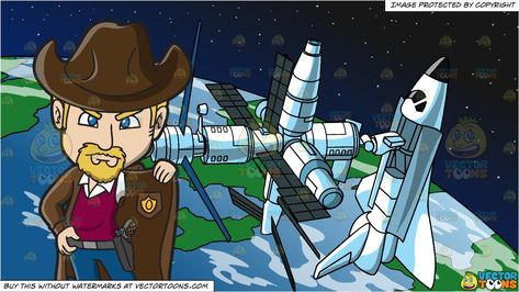 An American Old West Sheriff and A Space Station Background