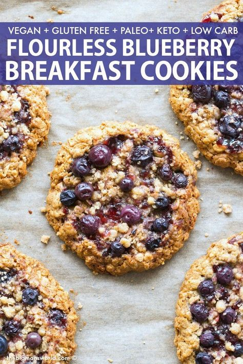 Flourless Blueberry Breakfast Cookies made with oatmeal banana and LOADED with fresh blueberries Naturally sweetened it comes with a KETO PALEO option breakfast breakfastcookies blueberries recipe vegancookies Breakfast Cookie Recipe, Delicious Breakfast Recipes, Healthy Breakfast Cookies, Oatmeal Breakfast Cookies, Healthy Morning Breakfast, Easy Paleo Breakfast, Vegan Breakfast Casserole, Vegan Gluten Free Breakfast, Clean Eating Breakfast