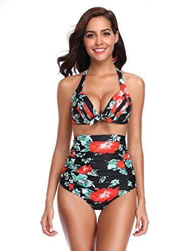 d459a98bbac LALAVAVA Womens High Waisted Bikini Set Halter Floral Print Two Piece  Swimsuits - https:/