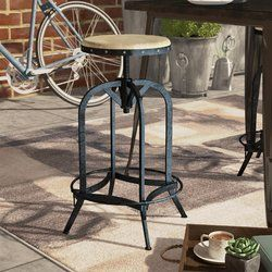 Kevin Solid Wood Adjustable Height Bar Stool Patio Bar Stools Bar Stools Rattan Bar Stools