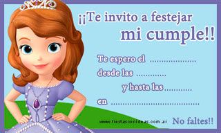Princesa Sofia Tarjetas De Cumpleaños Para Imprimir