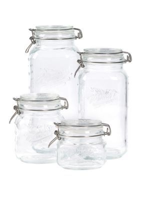 Set Of 4 Glass Preserving Jar Set With Lid Glass Preserving Jars Mason Jars Mason Jar Diy