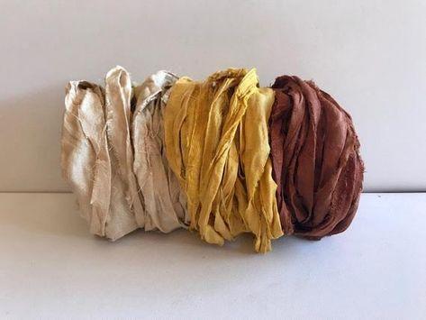 Light Brown 100g Recycled Sari Silk Ribbon Yarn Jewelry