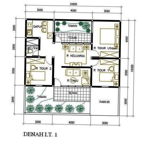 denah rumah sederhana 1 lantai