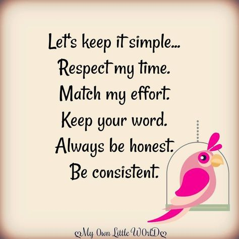 Simple Match Respect Word Always Honest Time