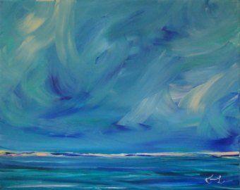 Original Painting Seascape Abstract Coastal Blue 24 X 30 Etsy Seascape Paintings Painting Water Painting