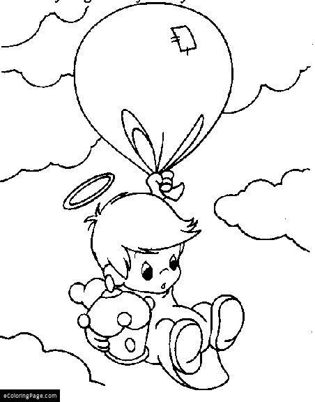 Angel Baby Boy Angel Flying With Balloon Coloring Page For Kids Printable Precious Moments Coloring Pages Angel Coloring Pages Coloring Pictures