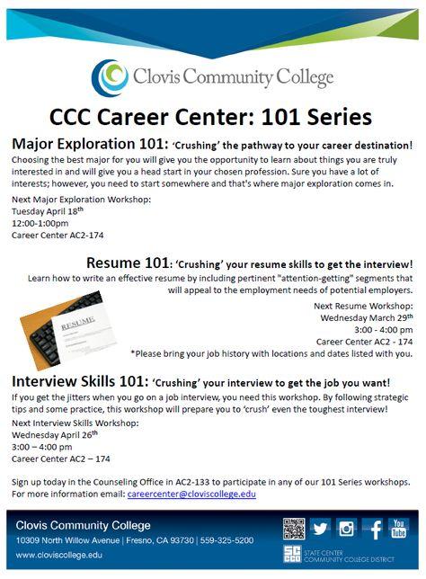 Donu0027t miss our upcoming workshop, Resume 101 u0027Crushingu0027 your - resume workshop