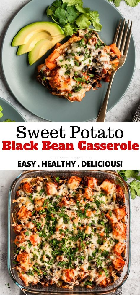 A family-friendly Mexican-inspired enchilada casserole recipe, that's as tasty as it is healthy. This easy Sweet Potato Black Bean Casserole is made with corn tortillas, sweet potatoes, tomatoes, blac Tasty Vegetarian Recipes, Vegetarian Recipes Dinner, Vegan Dinners, Veggie Recipes, Mexican Food Recipes, Cooking Recipes, Healthy Black Bean Recipes, Vegan Recipes With Sweet Potatoes, Sweet Potato Meals