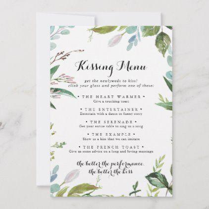 Greenery Modern Wedding Kissing Menu Game Card Zazzle Com Kissing Menu Wedding Kiss Wedding Reception Games