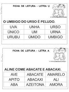 Fichas De Leitura De Palavras Alfabetizacao Leitura