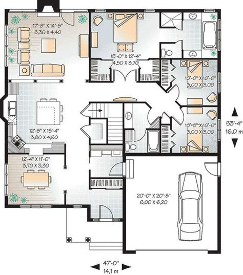 W3260-V3 - New Craftsman house plan, large kitchen island, central - dessiner un plan de maison