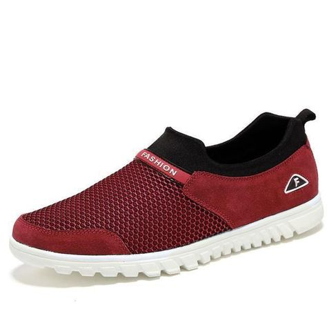 Men Casual Shoes Breathable Mesh Slip On Loafers Suede Men's Shoes