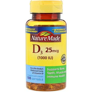 Nature Made Vitamin D3 25 Mcg 100 Softgels Vitamins Nature Made Vitamins Nutritional Supplements